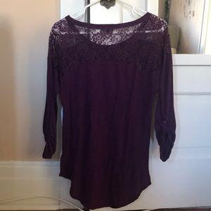 Express Purple Lace Dress Shirt 3/4 Sleeve